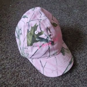 "Cabelas Pink ""I Hunt for Hugs"" Camo Cap"